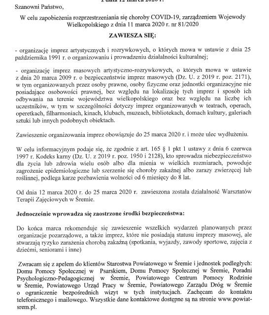 Komunikat Starosty Śremskiego dot. COVID-19