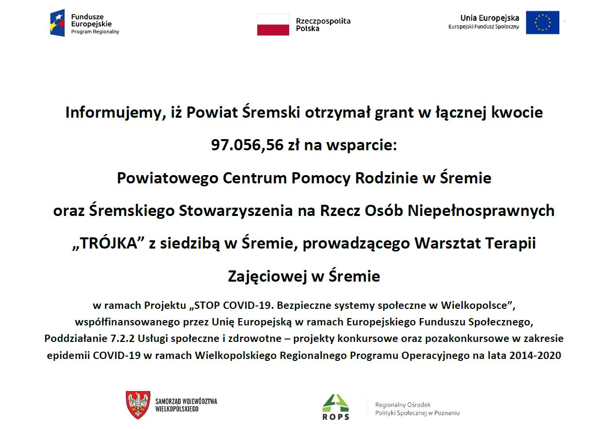 Obrazek informuje o otrzymaniu przez Powiat Śremski grantu w ramach projektu Stop Covid-19